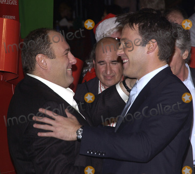 Photo - Actors JAMES GANDOLFINI (left)  BEN AFFLECK at the Hollywood premiere of their new movie Surviving ChristmasOctober 14 2004