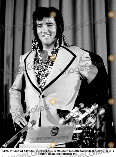 Elvis Presley Photos - Elvis Presly at a Press Conference in Madison Square Garden in New York City Photo ByGlobe Photos Inc