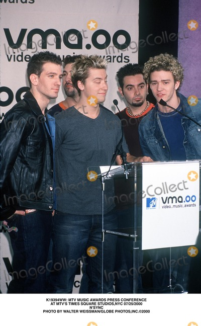 NSYNC Photo -  Mtv Music Awards Press Conference at Mtvs Times Square Studiosnyc 07252000 Nsync Photo by Walter WeissmanGlobe Photosinc