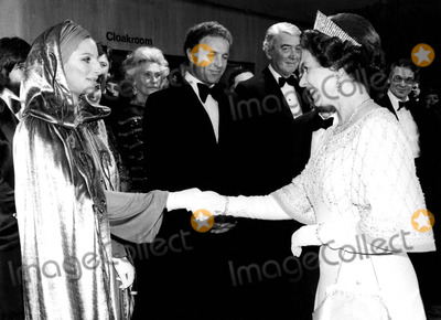 Barbra Streisand,James Caan,James Stewart,Queen,Queen Elizabeth,Queen Elizabeth\ Photos - Barbra Streisand James Caan James Stewart and Queen Elizabeth at the Royal Film Performance of Funny Lady 3171975 1970s Supplied by Globe Photos Inc