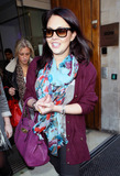 Lacey Turner Photo - East Enders star Lacey Turner wears a purple jacket and patterned scarf as she leaves BBC Radio 1 in London UK 3711