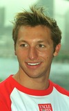Ian Thorpe Photo - DAVE  MORGANALPHA 046933 28022002 SYDNEY AUSTRALIAIAN THORPE AT NORTH SYDNEY OLYMPIC POOL-OLYMPIC CHAMPIONS SWIMMERS IAN THORPE GRANT HACKET  KIEREN PERKINS DONNED NOSE PAGS AND JOINED MEMBERS OF THE AUSTRALIAN SYNCHRONSED SWIMMING SQUAD IN SYDNEY TO LAUNCH UNCLE TOBYS NEW EDGE FOR LIFE CAMPAIGNCREDIT DAVE MORGANALPHAGLOBE PHOTOS INC