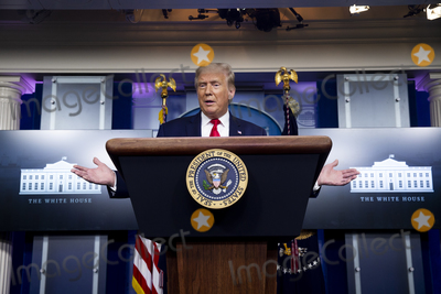 Photo - United States President Donald J Trump holds a news briefing in the James Brady Press Briefing Room of the White House in Washington DC USA 10 September 2020 Trump fielded questions regarding comments he made to journalist Bob Woodward author of the forthcoming book Rage that downplayed the threat of the coronavirusCredit Michael Reynolds  Pool via CNPAdMedia