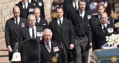 Peter Phillips Photo - Photo Must Be Credited Alpha Press 073074 17042021Prince Charles Prince of Wales Prince Andrew Duke of York Prince Edward Earl of Wessex Prince William Duke of Cambridge Peter Phillips Prince Harry Duke of Sussex Earl of Snowdon Viscount Lord David Linley David Armstrong-Jones and Vice-Admiral Sir Timothy Laurence follow Prince Philip Duke of Edinburghs coffin on a modified Jaguar Land Rover during the Ceremonial Procession during the funeral of Prince Philip Duke of Edinburgh at St Georges Chapel in Windsor Castle in Windsor Berkshire No UK Rights Until 28 Days from Picture Shot Date AdMedia