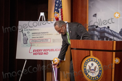 Photos From United States Senate Majority Leader Chuck Schumer (Democrat of New York) offers remarks on Child Tax Credit Payments