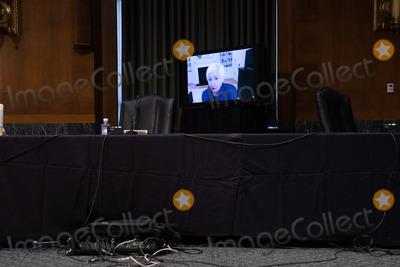 Photo - Janet Yellen President-elect Joe Bidens nominee for Secretary of the Treasury participates remotely in a Senate Finance Committee hearing in Washington DC January 19th 2021Credit Anna Moneymaker - Pool via CNPAdMedia