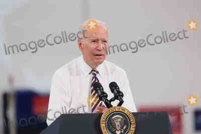 Photo - United States President Joe Biden delivers remarks on the importance of American manufacturing buying products made in America and supporting good-paying jobs for American worker at the Mack Lehigh Valley Operations in Lower Macungie Township Pennsylvania on Wednesday July 28 2021Credit Saquan Stimpson  CNPAdMedia