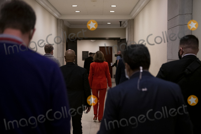 Photo - Speaker of the United States House of Representatives Nancy Pelosi (Democrat of California) makes an exit following her press conference at the US Capitol in Washington DC Friday January 15 2021 Credit Rod Lamkey  CNPAdMedia
