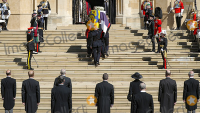 Peter Phillips Photo - Photo Must Be Credited Alpha Press 073074 17042021Princess Anne Princess Royal Prince Charles Prince of Wales Prince Andrew Duke of York Prince Edward Earl of Wessex Prince William Duke of Cambridge Peter Phillips Prince Harry Duke of Sussex Lord Viscount Linley Earl of Snowdon David Armstrong-Jones Viscount Lord David Linley and Vice-Admiral Sir Timothy Laurence watch on as Prince Philip Duke of Edinburghs coffin is carried in during the funeral of Prince Philip Duke of Edinburgh at St Georges Chapel in Windsor Castle in Windsor Berkshire No UK Rights Until 28 Days from Picture Shot Date AdMedia