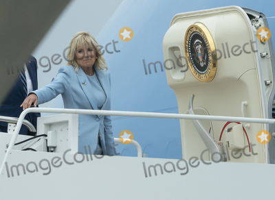 Photo - United States President Joe Biden and first lady Dr Jill Biden board Air Force One at Joint Base Andrews