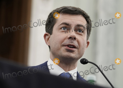 Photo - Peter Buttigieg speaks at the Senate Commerce Science and Transportation nomination hearings to examine the expected nomination of Peter Buttigieg of Indiana to be Secretary of Transportation in Washington DC on Thursday January 21 2021   Credit Ken Cedeno  Pool via CNPAdMedia