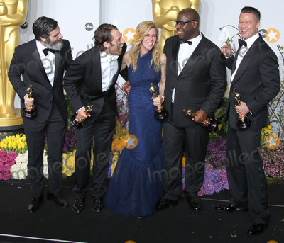 ANTHONY KATAGAS Photo - 02 March 2014 - Hollywood California - Anthony Katagas Jeremy Kleiner Dede Gardner Brad Pitt and director Steve McQueen winners of Best Picture for 12 Years a Slave 86th Annual Academy Awards held at the Dolby Theatre at Hollywood  Highland Center Photo Credit Russ ElliotAdMedia