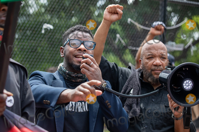 Photo - A speaker with the new Black Panther party speaks in front of the White House during a march against police brutality and racism in Washington DC on Saturday June 6 2020Credit Amanda Andrade-Rhoades  CNPAdMedia