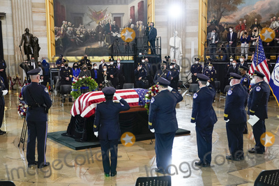 Photo - Slain US Capitol Police officer William Billy Evans lies in honor during a ceremony at the Capitol in Washington Tuesday April 13 2021 Credit J Scott Applewhite  Pool via CNPAdMedia
