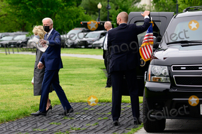 Jill Biden Photo - US President Joe Biden and First Lady Jill Biden board arrive to the Ellipse of the White House to board Marine One in Washington DC US on Monday May 3 2021 Bidens 4 trillion vision of remaking the federal governments role in the US economy is now in the hands of Congress where both parties see a higher chance of at least some compromise than for the administrations pandemic-relief bill Credit Erin Scott  Pool via CNPAdMedia