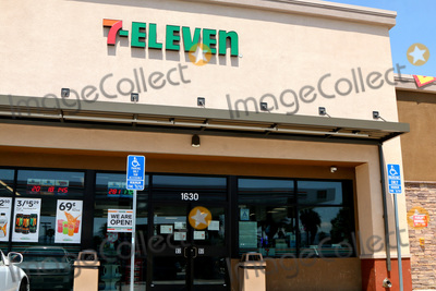 San Bernardino Photo - LOS ANGELES - APR 11  7-Eleven Store at the Businesses reacting to COVID-19 at the Hospitality Lane on April 11 2020 in San Bernardino CA