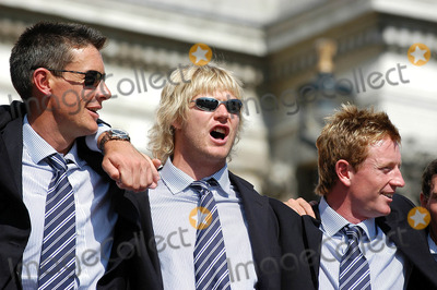 Ashley Giles Photo - LondonAshley Giles Mathhew Hoggard and Paul Collingwood celebrate winning the Ashes back afer 18 years at the victory parade that ended in Trafalgar Square Thousands of fans made an appearance to cheer on their new heros The event has been compared to England winning the Rugby World Cup in 2003 and also the Football World Cup in 1966September 13th 2005Picture by Ali KadinskyLandmark Media