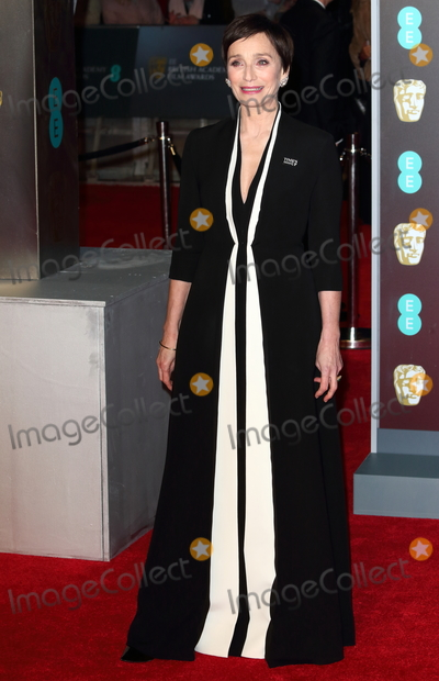 Photo - London UK  Kristen Scott Thomas at EE British Academy Film Awards 2018 - Red Carpet Arrivals at the Royal Albert Hall London on Sunday February 18th 2018 Ref LMK73 -J1591-190218Keith MayhewLandmark Media WWWLMKMEDIACOM