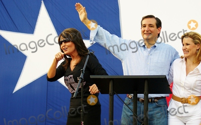 Heidi Cruz Photo - Candidate Ted Cruz Speaks to a Crowd of About 1000 Supporters at a Campaign Event at Town Creek Park in the Woodlands Texas on 07272012l-r)sarah Palinted Cruzheidi Cruz Photo by Jeff Newman-Globe Photos-Globe Photos Inc