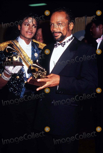 Photo - Michael Jackson and Quincy Jones Grammy Awards 02-1984 Photo by Phil Roach-ipol-Globe Photos