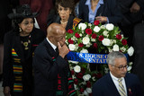 Elijah Cummings Photo - United States Representative Maxine Waters (Democrat of California) top US Representative Frederica Wilson (Democrat of Florida) left US Representative John Lewis (Democrat of Georgia) and US Representative Robert Scott (Democrat of Virginia) lower right walk past the casket of late US Representative Elijah Cummings (Democrat of Maryland) during a memorial service in National Statuary Hall at the US Capitol in Washington DC US on Thursday Oct 24 2019 Cummings a key figure in Democrats impeachment inquiry and a fierce critic of US President Donald J Trump died at the age of 68 on October 17 due to complications concerning long-standing health challenges Credit Al Drago  Pool via CNPAdMedia