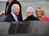 Jill Biden Photo - Vice President Joe Biden (L) and Dr Jill Biden greet Vice President-elect Mike Pence at the White House before the inauguration on January 20 2017 in Washington DC  Donald Trump becomes the 45th President of the United States Photo Credit Kevin DietschCNPAdMedia