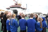 David Attenborough Photo - 26092019 - Prince William Duke of Cambridge and Duchess of Cambridge meet school children on the deck during the naming ceremony of Britains new polar research ship the RRS Sir David Attenborough at Camel Laird Shipyard in Birkenhead Merseyside Photo Credit ALPRAdMedia