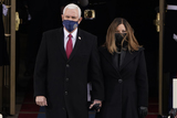 Mike Pence Photo - Vice President Mike Pence and his wife Karen arrive for the during the 59th Presidential Inauguration at the US Capitol in Washington Wednesday Jan 20 2021 (AP PhotoPatrick Semansky Pool)AdMedia