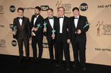 Allen Leech Photo - 30 January 2016 - Los Angeles California - Julian Ovenden Tom Cullen Allen Leech Kevin Doyle and Jeremy Swift co-winners of the Outstanding Performance by an Ensemble in a Drama Series award for Downton Abbey 22nd Annual Screen Actors Guild Awards held at The Shrine Auditorium Photo Credit Byron PurvisAdMedia