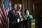 The Used Photo - United States Senator Richard Blumenthal (Democrat of Connecticut) left is joined by United States Senate Majority Leader Chuck Schumer (Democrat of New York) center and United States Senator Mazie Hirono (Democrat of Hawaii) right as he offers remarks during a press conference following Senate passage of the COVID-19 Hate Crimes Act at the US Capitol in Washington DC Thursday April 22 2021 Credit Rod Lamkey  CNPAdMedia