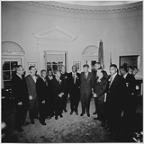 John F Kennedy Photo - Photograph of United States President John F Kennedys meeting in the Oval Office of the White House in Washington DC with the leaders of the March on Washington on August 28 1963  From left to right Willard Wirtz Martin Luther King Jr Eugene Carson Blake John F Kennedy VP Lyndon Baines Johnson Walter Reuther Others not in order A Philip Randolph John Lewis Whitney Young Mathew Ahmann Joachin Prinz Roy Wilkins Floyd McKissickCredit White House via CNPAdMedia