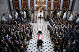 Elijah Cummings Photo - The American flag-draped casket of late United States Representative Elijah Cummings (Democrat of Maryland) is carried through National Statuary Hall during a memorial service at the US Capitol in Washington DC US on Thursday Oct 24 2019 Cummings a key figure in Democrats impeachment inquiry and a fierce critic of US President Donald J Trump died at the age of 68 on October 17 due to complications concerning long-standing health challenges Credit Al Drago  Pool via CNPAdMedia