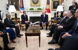 Donald Trump Photo - President Donald Trump meets with  Abdullah bin Zayed bin Sultan Al Nahyan Minister of Foreign Affairs and International Cooperation of the United Arab Emirates in the Oval Office  Tuesday Sept 15  2020  (Photo by Doug MillsThe New York Times) Credit Doug Mills  Pool via CNPPresident Donald Trump meets with  Abdullah bin Zayed bin Sultan Al Nahyan Minister of Foreign Affairs and International Cooperation of the United Arab Emirates in the Oval Office of the White House in Washington DC  Tuesday Sept 15  2020  Credit Doug Mills  Pool via CNPAdMedia