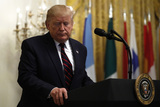 The Stage Photo - United States President Donald J Trump leaves the stage after delivering remarks at the Hispanic Heritage Month Reception at the White House in Washington DC on September 27 2019 Credit Yuri GripasCNPAdMedia