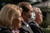 The White Photo - United States Vice President Mike Pence listens during an update by US President Donald Trump on the Nations Coronavirus Testing Strategy in the Rose Garden of the White House September 28 2020 in Washington DC  Credit Ken Cedeno  Pool via CNPAdMedia