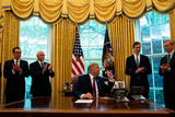 Brian Hooks Photo - United States President Donald J Trump speaks in the Oval Office of the White House in Washington DC after the announcement that Bahrain would normalize relations with Israel at the White House in Washington DC on September 11 2020 From left to right US Secretary of the Treasury Steven T Mnuchin US Vice President Mike Pence the President Jared Kushner Assistant to the President and Senior Advisor Brian Hook former US Special Representative for Iran and Senior Advisor to the Secretary of StateCredit Anna Moneymaker  Pool via CNPAdMedia