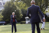 Mariano Rivera Photo - United States President Donald J Trump plays catch with Mariano Rivera the MLB Hall of Fame Closer from the Yankees to mark the Opening Day of the Major League Baseball Season on the South Lawn of the White House in Washington on July 23 2020 Credit Yuri Gripas  Pool via CNPAdMedia