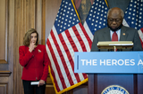 Representative Nancy Pelosi Photo - United States House Assistant Democratic Leader James Clyburn (Democrat of South Carolina) offers remarks while joined by Speaker of the United States House of Representatives Nancy Pelosi (Democrat of California) for a press conference regarding Congressional Democrats testing funds needed for COVID at the US Capitol in Washington DC Thursday September 17 2020 Credit Rod Lamkey  CNPCredit Rod Lamkey  CNPAdMedia