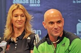 Andre Agassi Photo - 16 October 2012 - Pittsburgh PA - Tennis legendsspouses ANDRE AGASSI and STEPHANIE GRAF attend the Press Conference before the Mylan WTT Smash Hits World Team Tennis Match held at the Petersen Events Center The 20th anniversary edition of Mylan WTTSmash Hits presented by GEICO was one for the record books with the event posting a record 1 million for the Elton John AIDS Foundation with a portion of those proceeds benefitting the Pittsburgh AIDS Task Force Theevent hosted annually by Sir Elton John and Billie Jean King has now raised more the 115 million to support HIV and AIDS prevention and awareness programs since the first Smash Hits was held in Los Angeles in 1993  Photo Credit Jason L NelsonAdMedia