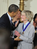 Jean Kennedy Photo - United States President Barack Obama and first lady Michelle Obama present the 2010 Medal of Freedom the Nations highest civilian honor presented to individuals who have made especially meritorious contributions to the security or national interests of the United States to world peace or to cultural or other significant public or private endeavors to former US Ambassador to Ireland Jean Kennedy Smith in a ceremony in the East Room of the White House in Washington DC on Tuesday February 15 2011 Credit Ron Sachs  CNPAdMedia