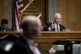 The Faces Photo - Senate Committee on Homeland Security and Governmental Affairs Chairman United States Senator Ron Johnson (Republican of Wisconsin) questions the panel during a Senate Committee on Homeland Security and Governmental Affairs hearing to examine Congressional oversight in the face of Executive Branch and media suppression focusing on the case study of Crossfire Hurricane in the Dirksen Senate Office Building in Washington DC Thursday December 3 2020 Credit Rod Lamkey  CNPAdMedia