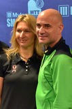 Andre Agassi Photo - 16 October 2012 - Pittsburgh PA - Tennis starsspouses STEFANIE GRAF and ANDRE AGASSI attend the Press Conference before the Mylan WTT Smash Hits World Team Tennis Match held at the Petersen Events Center The 20th anniversary edition of Mylan WTTSmash Hits presented by GEICO was one for the record books with the event posting a record 1 million for the Elton John AIDS Foundation with a portion of those proceeds benefitting the Pittsburgh AIDS Task Force Theevent hosted annually by Sir Elton John and Billie Jean King has now raised more the 115 million to support HIV and AIDS prevention and awareness programs since the first Smash Hits was held in Los Angeles in 1993  Photo Credit Jason L NelsonAdMedia