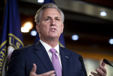 The Used Photo - United States House Minority Leader Kevin McCarthy (Republican of California) offers remarks during his weekly press conference at the US Capitol in Washington DC Thursday April 22 2021 Credit Rod Lamkey  CNPAdMedia
