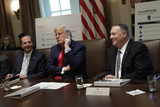 Alex Azar Photo - United States President Donald J Trump sits between US Secretary of State Mike Pompeoo (R) and US Secretary of Health and Human Services Alex Azar during a Cabinet Meeting at the White House in Washington on October 21 2019 Photo Credit Yuri GripasCNPAdMedia