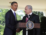 Benjamin Netanyahu Photo - United States President Barack Obama makes a statement with Prime Minister Benjamin Netanyahu of Israel on the killings in the West Bank following their  meeting in the Oval Office of the White House in Washington DC on Wednesday September 1 2010Photo by Ron SachsPool-CNP-PHOTOlinknet