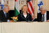 Benjamin Netanyahu Photo - Washington DC 9022010RESTRICTED NEW YORKNEW JERSEY OUTNO NEW YORK OR NEW JERSEY NEWSPAPERS WITHIN A 75  MILE RADIUSSecretary Clinton hosts Abbas and Netanyahu peace talksSecretary of State Hillary Clinton hosts the re-launch of direct negotiations between Israeli Prime Minister Benjamin Netanyahu and Palestinian Authority President Mahmoud Abbas at the US State Department (center) Secretary Clinton (left) Netanyahu and (right) Abbas after opening remarks marking the start of the negotiationsDigital photo by Elisa Miller-PHOTOlinknet