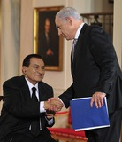 Benjamin Netanyahu Photo - Peace Talks8254JPGRESTRICTED NEW YORKNEW JERSEY OUTNO NEW YORK OR NEW JERSEY NEWSPAPERS WITHIN A 75 MILE RADIUS OF NYCPrime Minister Benjamin Netanyahu of Israel shakes hands with President Hosni Mubarak of Egypt after making remarks in the East Room of the White House following a series bi-lateral meetings in Washington DC on Wednesday September 1 2010  The statements are in advance of the opening of the first direct talks in two years between Israel and the Palestinian Authority scheduled to begin at the State Department in Washington DC tomorrow  Photo by Ron SachsPoolCNP-PHOTOlinknet