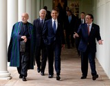 Asif Ali Photo - Washington DC - May 6 2009 -- United States President Barack Obama (center) with President Hamid Karzai of Aghanistan and President Asif Ali Zadari of Pakistan walk along the Colonnade following a US-Afghanistan-Pakistan Trilateral meeting in Cabinet Room Wednesday  May 6 2009 MANDATORY PHOTO CREDIT Pete SouzaWhite House-CNP-PHOTOlinknet