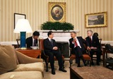 Alex Wong Photo - WASHINGTON DC - JANUARY 19 (AFP OUT) US President Barack Obama (2R) and Chinese President Hu Jintao (2L) meet in the Oval Office with interpreters at the White House January 19 2011 in Washington DC Obama and Hu are scheduled to hold a joint press conference and attend a State dinner  Photo by  Alex WongPoolCNP-PHOTOlinknet