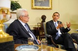 ABBA Photo - Washington DC - May 28 2009 -- United States President Barack Obama (R) meets with President of Palestine Mahmoud Abbas (L) in the Oval Office of the White House in Washington DC USA Thursday 28 May 2009  Credit Michael Reynolds - Pool via CNP